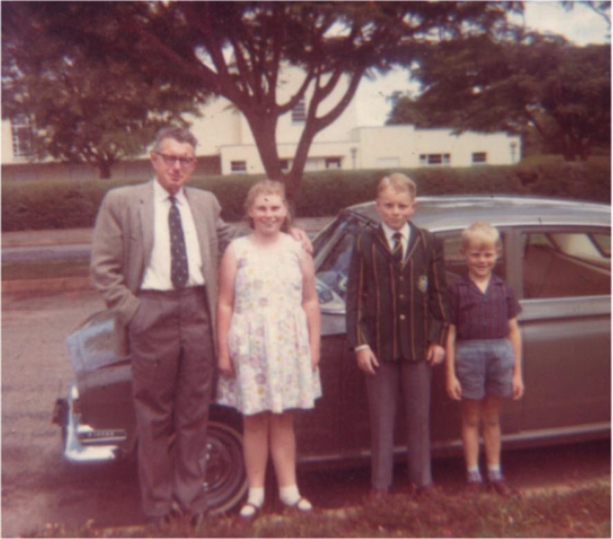 My dad thought nothing of bundu-bashing in a car like this - a normal sedan, Vauxhall Victor - and there we are, dad, Cathy, me and Anthony
